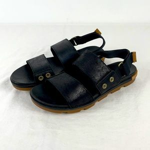 Sorel Torpeda Black Leather Sandal